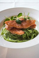 Fried salmon steaks on green ribbon pasta