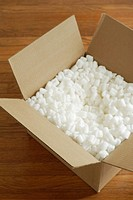 Box filled with styrofoam peanuts