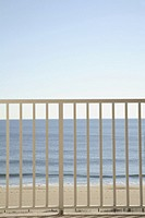 View of sea through railings