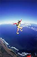May skydiving wearing flippers