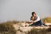 Couple on sand dune
