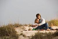 Couple on sand dune