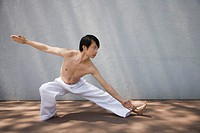 Man performing martial arts