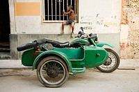 Old motorcycle with sidecar. Havana. Cuba