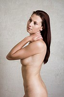 naked woman with long hair posing