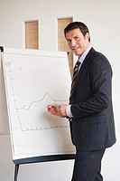 Business man writing on flipchart