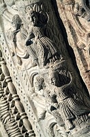 Close-up of carvings on the wall of a church, Cathedral Of San Rufino, Assisi, Umbria, Italy