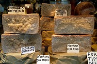 Close-up of cheese for sale at a market stall, Orvieto, Umbria, Italy