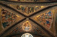 Low angle view of murals on the ceiling of a chapel, Chapel Of San Brizio, Orvieto, Umbria, Italy