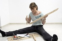 woman, inside, hobby, craft, do it yourself, assembling, instructions, tools, piece of furniture, rack, shelf, shelves