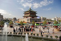 China, Asia, Silk Road, province Shaanxi, Xian, Xi´an, town, city, bell tower, belfry, place, space, person, historica