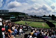 Spectators watching a tennis match, All England Lawn Tennis and Croquet Club, London, England