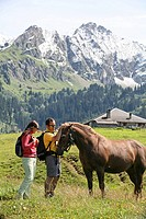 Couple, horse, stroking, animals, animals, Alp, alpine, Two, man, woman, scenery, landscape, walking, hiking, mountain