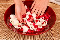 A woman placing her hands in a bowl with rose petals