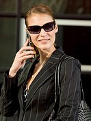 A business woman talking on her mobilephone