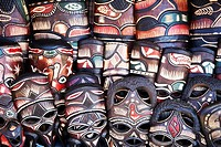 Carved Wooden African Masks on Souvenir Stand