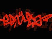 Non-western script on a black background