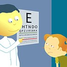 Male optician checking a girl´s eye sight with an eye chart