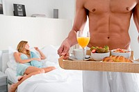 Man with breakfast tray