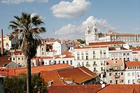 Skyline of Alfama district with São Vicente de Fora church in background, Lisbon. Portugal