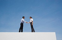 Businessman and woman shaking hands on wall outdoors with blue sky