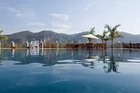 Swimming pool in a tourist resort, Jim Corbett National Park, Pauri Garhwal, Uttarakhand, India
