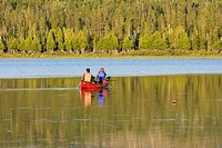 View of canoe at Lac de la T&#234;te, Quebec