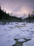 Mistaya Canyon and the Mistaya River in Winter, Banff National Park, Alberta, Canada