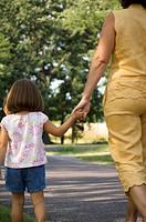 Grandma and granddaughter taking a walk
