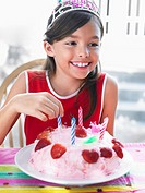 Portrait of girl 7_9 with birthday cake