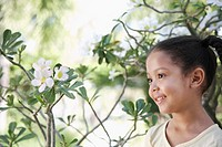 Girl 5_6 years in garden portrait