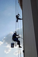 Painters at the Bayoke Sky hotel, topmost building from Thailand, Bangkok