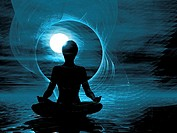 Illustration of a figure meditating Meditation, yoga, and relaxation therapy are used to treat headaches, migraines, and stress
