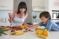 Family having fun with food