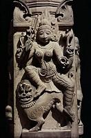 Bas-relief detail from temple, Mathura, Uttar Pradesh, India