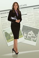 Woman real estate agent with newspaper ad and photos