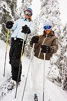 Portrait of skiers