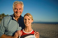 Couple smiling on beach