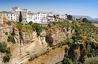 Houses on the 'tajo' edge, Ronda. Malaga province, Andalucia, Spain