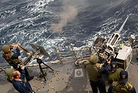 PERSIAN GULF (April 25, 2007) - Sailors conduct an underway live-fire exercise for qualification purposes aboard guided missile destroyer USS Preble (...