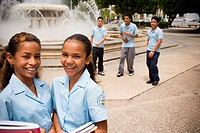 School children socializing in center plaza