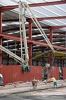 Cement mixer, construction of factory premises, Legazpi. Gipuzkoa, Euskadi, Spain