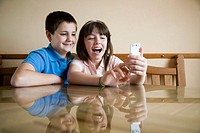 Children using cell phone