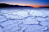 Salt formations and ridges at dusk. Salt flats at Badwater, Death Valley, California, USA