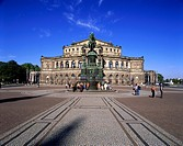 geography / travel, Germany, Saxony, Dresden, squares, theatre square, equestrian sculpture John of Saxony, Semper Opera House, architect Gottfried Se...