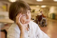 Woman, age 89, cardiac patient at nursing home. Lens blur. Poughkeepsie, NY. USA.
