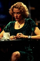 movie, Carlito´s Way, USA 1994, director: Brian de Palma, scene with: Penelope Ann Miller, half length, velvet, sitting, drinking, cup, coffee,