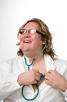 Doctor using stethoscope on himself