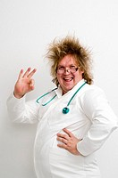 Crazy doctor showing OK sign