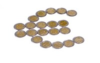 Coins forming 'Euro' currency sign (thumbnail)